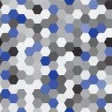 Vector nahtloses Muster abstrakter Hintergrund Wiederholen des Hexagon-geometrischen Hintergrundes Schwarze, graue und blaue Farb Stockfotografie