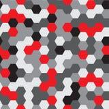 Vector nahtloses Muster abstrakter Hintergrund Wiederholen des Hexagon-geometrischen Hintergrundes Schwarze, graue und rote Farbe Stockfoto