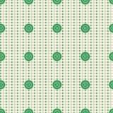 Vector nahtloses Muster Beige Pastellhintergrund mit grünen Knöpfen, Gewebemuster probiert Beschaffenheit Stockbild
