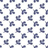Vector nahtloses Muster der kleinen lokalisierten violetten Niederlassung Lizenzfreies Stockfoto