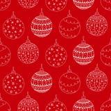 Vector nahtloses Muster des Hand gezeichneten Ballspielzeugs der weißen Weihnacht Stockfoto