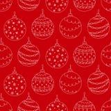 Vector nahtloses Muster des Hand gezeichneten Ballspielzeugs der weißen Weihnacht Stockbild