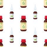 Vector nahtloses Muster des Nasensprays, Hustenmittel Flache Art der Karikatur Lizenzfreie Stockfotografie