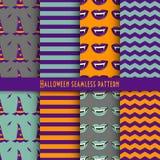 Vector nahtloses Muster für Halloween in den traditionellen Farben des Feiertags Stockfotografie