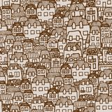 Vector nahtloses Muster - Häuser und Immobilien Lizenzfreies Stockbild