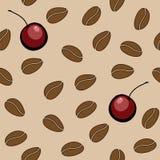 Vector nahtloses Muster - Kaffeebohnen und Kirsche Stockbild