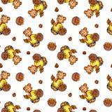 Vector nahtloses Muster mit Bären in der Karikaturart Lizenzfreie Stockbilder