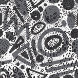 Vector nahtloses Muster mit dem abstrakten Markierungskritzeln farblos stock abbildung