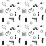 Vector nahtloses Muster mit dem Bild des Detektivzubehörs Stockbilder