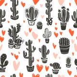 Vector nahtloses Muster mit den Hand gezeichneten Kaktuselementen u. -herzen, die auf weißem Hintergrund lokalisiert werden Stockbilder