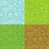 Vector nahtloses Muster mit den linearen Ikonen, die auf grünem energ bezogen werden lizenzfreie abbildung