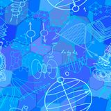 Vector nahtloses Muster mit den Skizzenelementen, die auf Wissenschaft bezogen werden stockbild