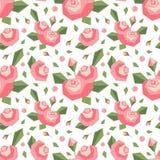 Vector nahtloses Muster mit eckigen stilisierten rosa Blumen und Blättern Weiche Farben Einfacher netter Designhintergrund lizenzfreie abbildung