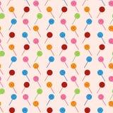 Vector nahtloses Muster mit Elementen der Süßigkeit (Lutscher) Stockfotos
