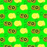 Vector nahtloses Muster mit Elementen von exotischen Früchten, von Kiwi und von Zitronen Lizenzfreie Stockfotos