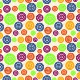Vector nahtloses Muster mit Elementen von hellen bunten Knöpfen Lizenzfreies Stockbild