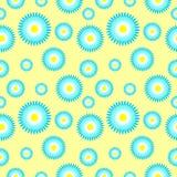 Vector nahtloses Muster mit Elementen von stilisierten blauen Gänseblümchen Lizenzfreie Stockbilder