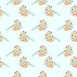 Vector nahtloses Muster mit Elementen von Wildflowers auf einem Licht Lizenzfreies Stockfoto