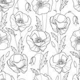 Vector nahtloses Muster mit Entwurf Mohnblumenblume, -knospe und -blättern im Schwarzen auf dem weißen Hintergrund Einfarbiges Bl Lizenzfreies Stockfoto