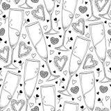 Vector nahtloses Muster mit Entwurfschampagnerglas und -herzen im Schwarzen auf dem weißen Hintergrund Muster in der Konturnart Lizenzfreie Stockfotos