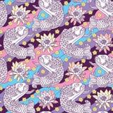 Vector nahtloses Muster mit Entwurfskarpfen und Lotos oder Seerose auf dem Hintergrund in rosa, in Blauem, Veilchen und Gelb Stockfoto