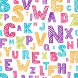 Vector nahtloses Muster mit Farbhand gezeichnetem Skizzenalphabet Verkratzt und Buchstaben ausbrütend Stockbilder
