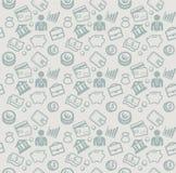 Vector nahtloses Muster mit Geschäfts- und Geldikonen Stockbilder