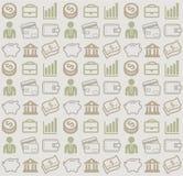 Vector nahtloses Muster mit Geschäfts- und Geldikonen Lizenzfreie Stockfotos