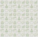 Vector nahtloses Muster mit Geschäfts- und Geldikonen Stockfotos