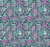 Vector nahtloses Muster mit Hand gezeichnetem Farbverzierungsmaya Stockfoto