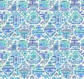 Vector nahtloses Muster mit Hand gezeichnetem Farbverzierungsmaya Lizenzfreies Stockfoto