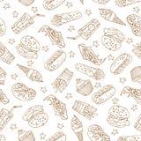 Vector nahtloses Muster mit Hand gezeichneten Schnellimbisselementen Stockfoto