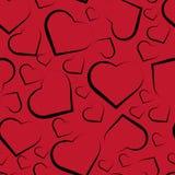 Vector nahtloses Muster mit Herzen auf rotem Hintergrund vektor abbildung