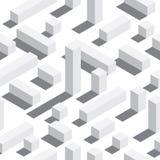 Vector nahtloses Muster mit isometrischen Blöcken und Schatten Weißer Hintergrund, weiße Elemente Lizenzfreies Stockfoto