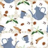 Vector nahtloses Muster mit Kaffeetopf, Schalen und orientalischen Gewürzen Lizenzfreie Stockbilder