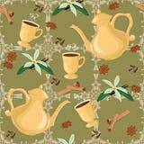 Vector nahtloses Muster mit Kaffeetopf, Schalen und orientalischen Gewürzen Stockbilder