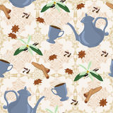 Vector nahtloses Muster mit Kaffeetopf, Schalen und orientalischen Gewürzen Stockfotos