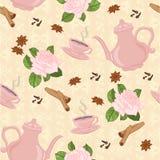Vector nahtloses Muster mit Kaffeetopf, Schalen und orientalischen Gewürzen Stockbild