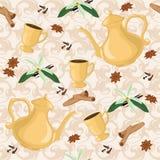 Vector nahtloses Muster mit Kaffeetopf, Schalen und orientalischen Gewürzen Stockfoto
