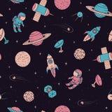 Vector nahtloses Muster mit Kosmonauten, Satelliten, Raketen, Winkel des Leistungshebels stock abbildung