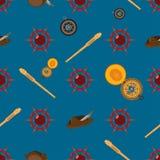 Vector nahtloses Muster mit Lenkrad, Fernglas, Kompass und Columbus-Hut Lizenzfreies Stockbild