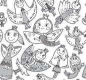 Vector nahtloses Muster mit netten Feen in der Zeichnung der Kinder Stockfotografie