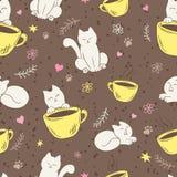 Vector nahtloses Muster mit netter flaumiger Katze, Schale, Herzen, Blume und Niederlassung Stockbilder