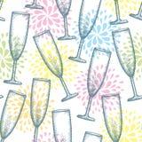 Vector nahtloses Muster mit punktiertem Champagnerglas oder -flöte auf dem weißen Hintergrund mit stilisierten Feuerwerken Lizenzfreies Stockbild