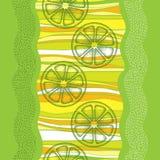 Vector nahtloses Muster mit punktierter grüner Zitronenscheibe auf dem bunten gestreiften Hintergrund Fruchtelemente in dotwork A Lizenzfreies Stockfoto
