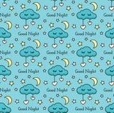 Vector nahtloses Muster mit Sternen, Mond, Herzen, Wolken und Text stock abbildung