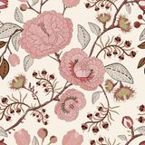 Vector nahtloses Muster mit stilisierten Blumen und Anlagen Dekorative Art Hand gezeichnete Blumentapete Vector Abbildung, eps10, Lizenzfreies Stockbild