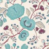 Vector nahtloses Muster mit stilisierten Blumen und Anlagen Dekorative Art Hand gezeichnete Blumentapete Vector Abbildung, eps10, Stockbilder