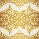 Vector nahtloses Muster mit Strudeln und Blumenmotiven im Retrostil. Stockfoto