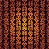 Vector nahtloses Muster mit Strudeln und Blumenmotiven im Retrostil. Stockbilder